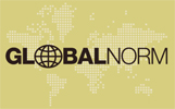"""GlobalNorm logo. A gold-coloured background with a ghosted global map in the background, and the word GlobalNorm in dark brown lettering in the foreground. The """"O"""" in Global has been replaced with a latitude-longitude line globe."""