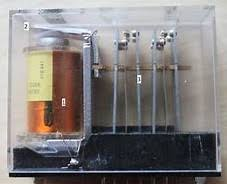 Photo of a typical general-purpose DPDT control relay. Construction is visible through the transparent relay casing.