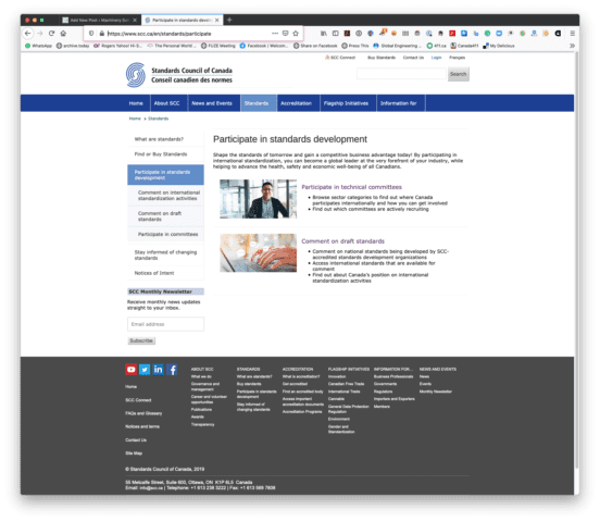 """The SCC """"Participate in standards development"""" page."""