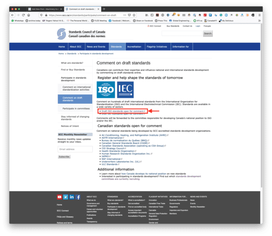 """The SCC """"Comment on draft standards"""" page with the link to the ISO commenting portal shown with a red box surrounding it and an arrow pointing to the box to highlight it."""