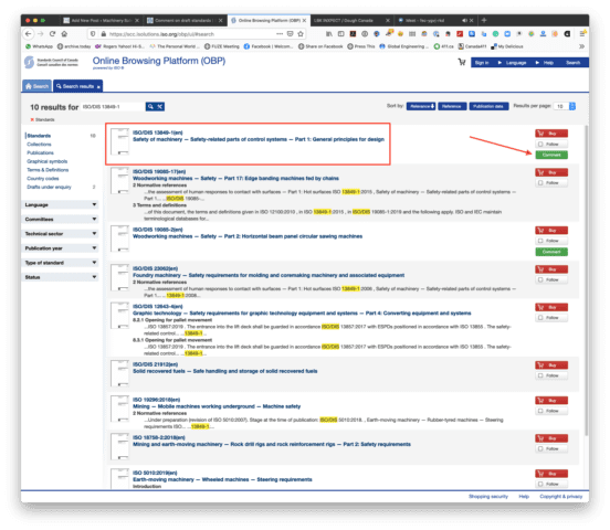 """The OBP search results, with ISO/DIS 13849-1 shown at the top of the list. The document has a red box drawn around it to highlight it, and a red arrow is pointing at the green """"Comment"""" button on the right of the screen."""