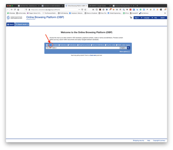 """The SCC/ISO Online Browsing Platform page with the search box shown. """"ISO/DIS 13849-1"""" has been typed in the search box, and the """"Standards"""" radio button has been selected."""