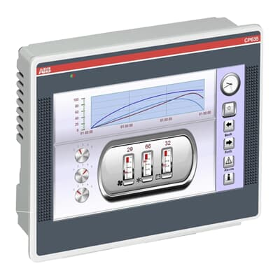An ABB HMI showing some graphical objects representing control functions and data.